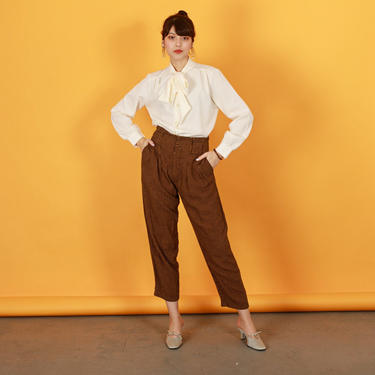 80s Brown Orange Plaid Pants Vintage Houndstooth High Waisted Trousers by AppleBranchesVintage