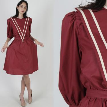 Simple Burgundy Cottage Dress / Vintage 80s Country Field Dress / Maroon Striped Bib Collar / Puff Sleeve Day Party Mini Dress With Pockets by americanarchive