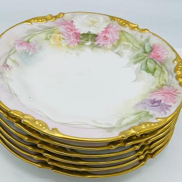 "Antique Set 6 JPL Jean Pouyat Limoges France Hand Painted Plates colorful Floral 7.5"" Signed - Mint Condition by JoAnntiques"