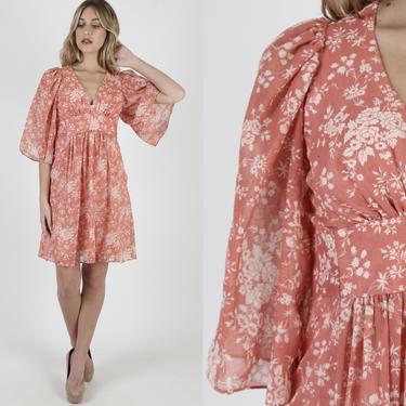 Kimono Sleeve Dress Terra Cotta Floral Dress Angel Bell Sleeves Short Bohemian Dress Vintage 70s Deep V Neck Festival Prairie Mini Dress by americanarchive