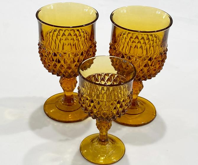 3 Amber Indiana Glass Diamond Point Vintage Footed Stem Water and Wine Goblets by DressingVintage