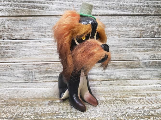 Vintage Jestia Stuffed Dog, Japan Leather Toy Dog, Sad Looking Black & White Schnauzer Dog Wearing Hat, Fur Hairy Eyebrows, Vintage Toys by AGoGoVintage
