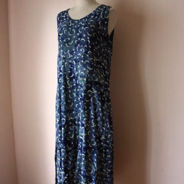 90s Moon and Stars Print Batik Rayon Dress Market Dress Size M / L by NoSurrenderVintage