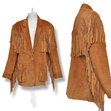Vintage Tan Suede Western Jacket with Fringe Leather One Button Blazer S by TheUnapologeticSoul