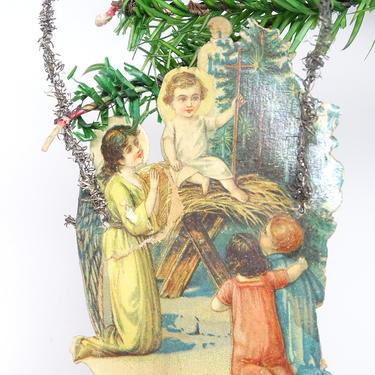 Early 1900's Victorian Die Cut and Tinsel Christmas Nativity Scrap Ornament, Baby Jesus in Manger with Angels, Vintage Decor by exploremag