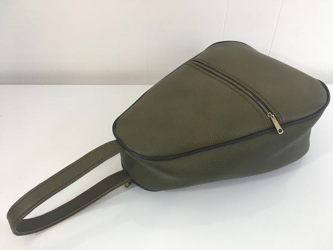 Vintage Shoe Bag Vinyl Suitcase Green Avocado Makeup Train Case Luggage Accessory Travel Case Egg Shape by CheckEngineVintage