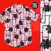 Vintage 60s 70s Black & White Floral Geometric Button Down Shirt by RETMOD