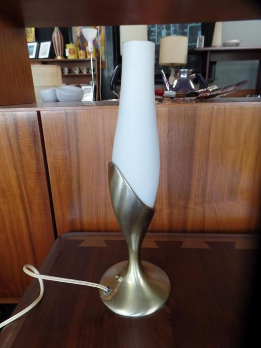 Mid-Century Brass and glass vanity lamp