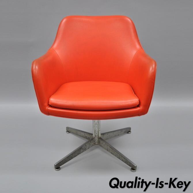 orange vinyl office desk chair vintage mid century modern armchair