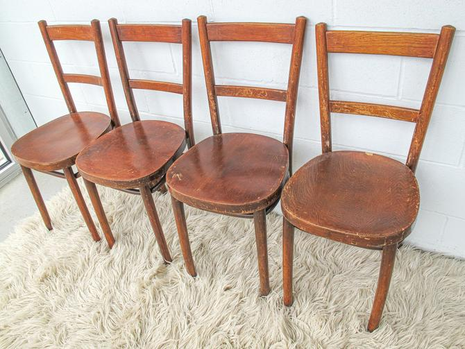 Set of 4 Bentwood Chairs with Ply board Seats (Sold as a Set) by PortlandRevibe