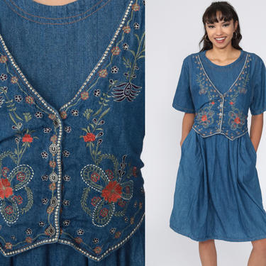 Floral Denim Dress EMBROIDERED 90s Midi Jean Grunge Dress Vintage 1990s Button Up High Waist Granny Short Sleeve Large by ShopExile