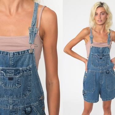 Denim Overall Shorts Jean Overalls 90s Grunge Jean Pocket Bibs Blue Streetwear Woman 1990s Vintage Cargo Extra small by ShopExile