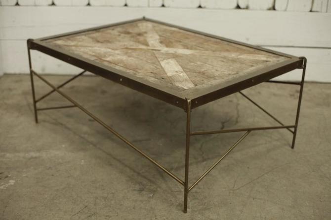 Custom Brass Banded Coffee Table