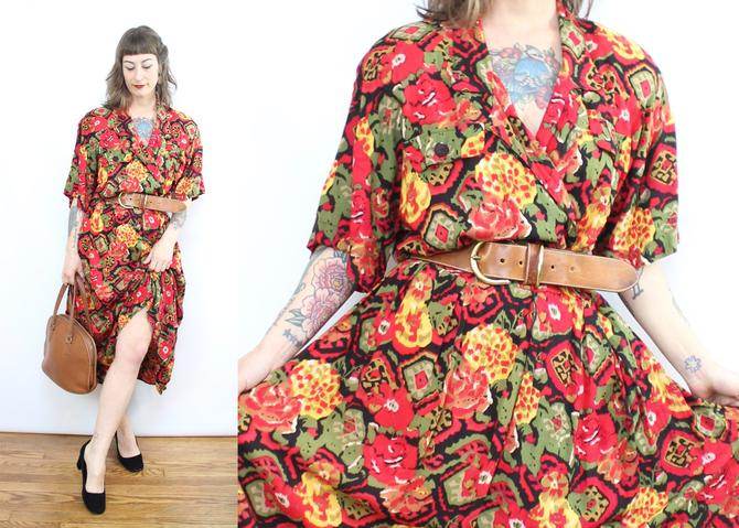 Vintage 90's Red Abstract Dress / 1990's Spring Summer Midi Dress / Women's Size  XL Plus Size 1X by RubyThreadsVintage
