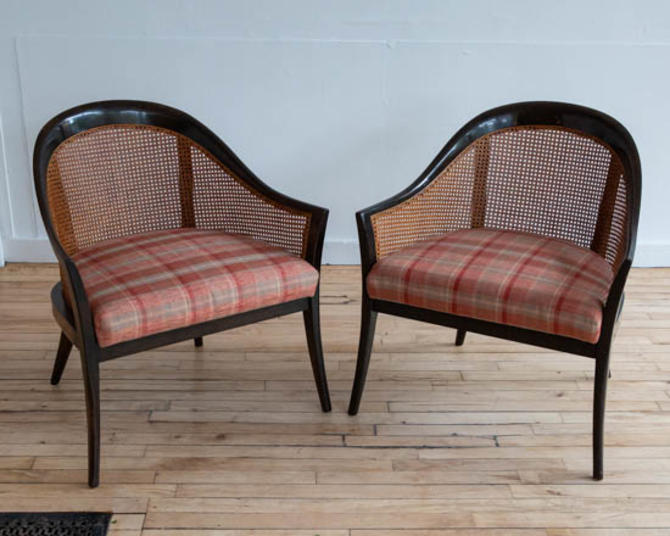 Pair of Harvey Probber Cane Lounge Chairs