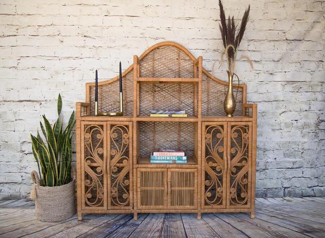 SHIPPING NOT FREE!!! Vintage Peacock Rattan  Cabinet / Wicker Hutch by WorldofWicker