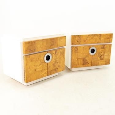 Milo Baughman for Lane Mid Century Laminate Burlwood and Chrome 2 Door Nightstands - Pair - mcm by ModernHill