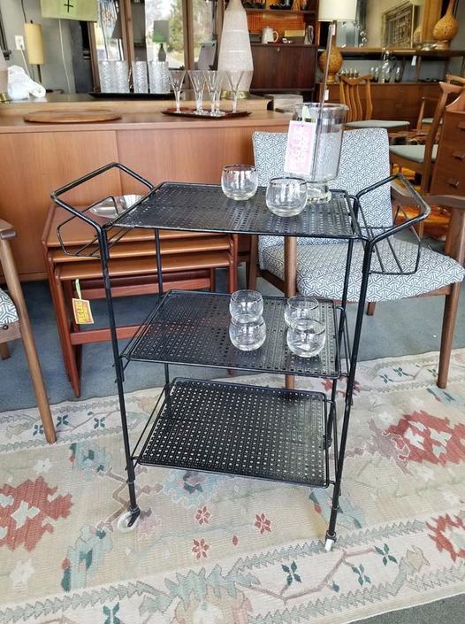 Mid-Century Modern perforated metal bar cart
