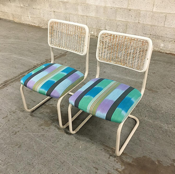 LOCAL PICKUP ONLY Vintage Daystrom Chairs Retro 1970's Marcel Breuer Style White Metal Dining Chairs Blue Printed Fabric Set of 2 Matching by RetrospectVintage215