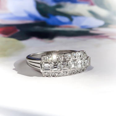 Vintage 1940's Mixed Cut Square Step Cut and Round Diamond Anniversary Band Cocktail Ring Platinum by YourJewelryFinder