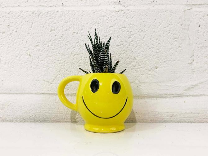 Vintage McCoy Smiley Face Mug 1970s Coffee Cup Classic Happy Smile Novelty Yellow Black Made in the USA Retro by CheckEngineVintage
