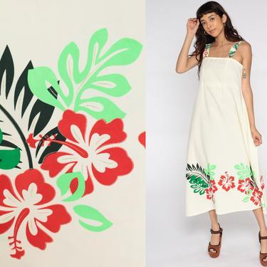 70s Sun Dress Tropical Floral Sundress Cream Hawaiian Dress Midi Empire Waist Summer 1970s Vintage Spaghetti Straps Small Medium 6 8 by ShopExile