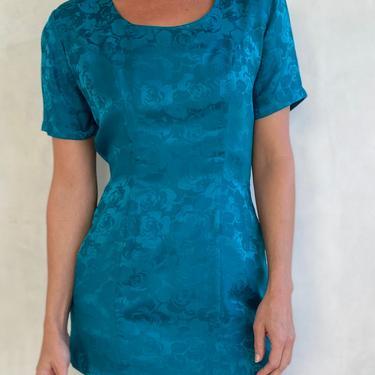 Stunning 80s Silk Turquoise Mini Dress - Teal Short sleeve Floral Embossed Short Dress by LittleSparkVintage