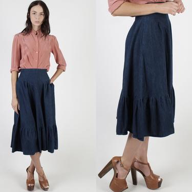 Womens Gunne Sax Blue Jean Skirt Denim Skirt With Pockets Skirt Vintage 70s Chambray Solid Color Prairie Boho High Waist Midi Skirt by americanarchive