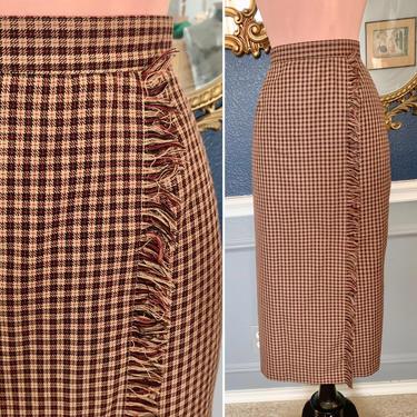 Pencil Skirt, Plaid Wool Blend, Fringe, High Waist,  Preppy Prep School Girl Tartan, Vintage 90s by GabAboutVintage