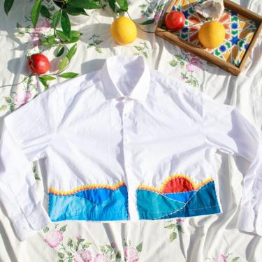 80s White Blue Sunset Hand Painted Embroidered Crop Top Vintage Reworked Blouse by AppleBranchesVintage