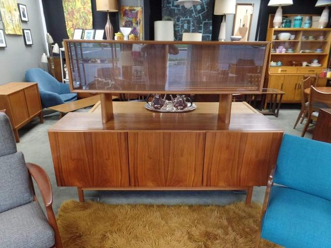 Danish Teak Credenza : Danish modern teak credenza with floating hutch by faarup. peg leg