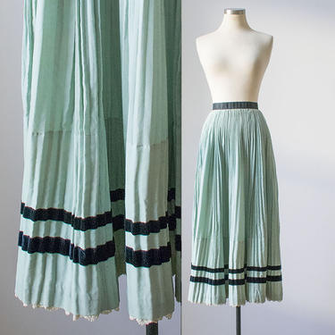 Vintage Accordian Skirt / Vintage Pale Blue Skirt / Long Blue Skirt / Long Accordian Skirt / Vintage Edwardian Skirt / Edwardian Wool Skirt by milkandice