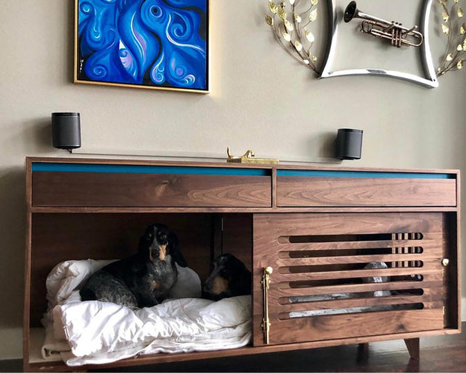 Wooden dog kennel, Solid wood media kennel, Double dog kennel, Pet crate solution, Non toxic furniture by ThisIsUrbanMade