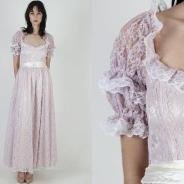 Gunne Sax Romantic Renaissance Bridal Collection / Lilac Purple Lace Bridesmaids Dress / Vintage 80s Lavender Floral Gown Maxi Dress by americanarchive