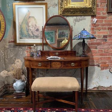 Antique vanity & bench, hanging above- Louis Icart stamped print