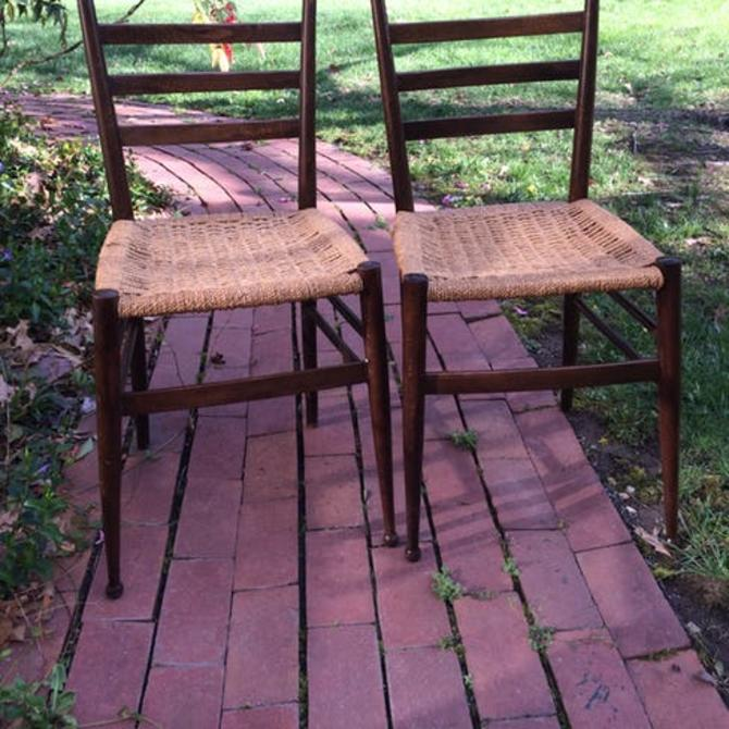 Italian vintage modern walnut dining chairs