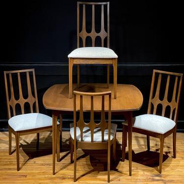 Broyhill Brasilia Walnut Dining Set Table 4 Chairs - Mid Century Modern Broyhill Furniture by MidMod414