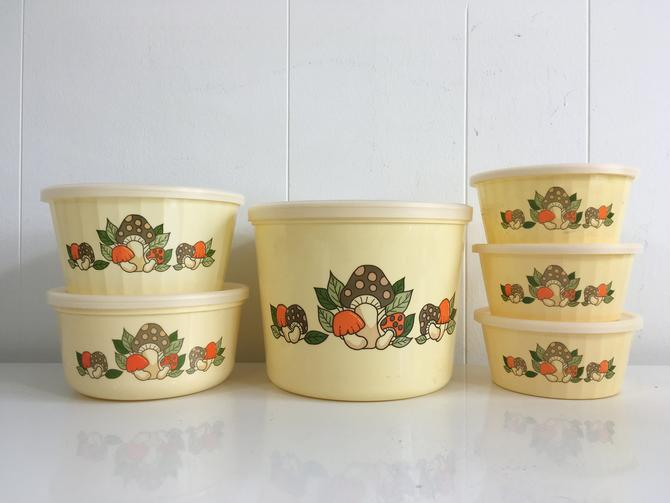 Vintage Packerware Mushroom Plastic Canisters Set of Six (6) Canister Lid Kitsch 1980s Mid-Century Kitchen Retro Kitschy Kawaii Tupperware by CheckEngineVintage