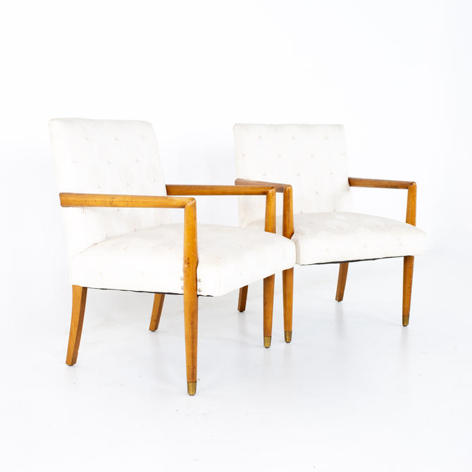 Robsjohn Gibbings Style Mid Century Occasional Lounge Chairs - A Pair - mcm by ModernHill