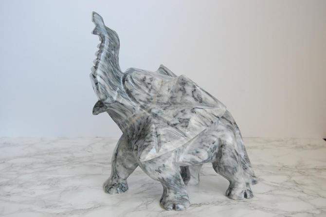 Large Alabaster Elephant Vintage Grey Marble Elephant Statue Stone Elephant Figurine Boho Chinoiserie Decor by PursuingVintage1