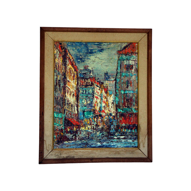 Vintage Mid-Century Modern Cityscape Original Oil on Canvas Painting by MetronomeVintage