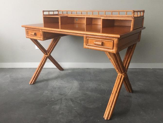 vintage Palecek bamboo writing desk.
