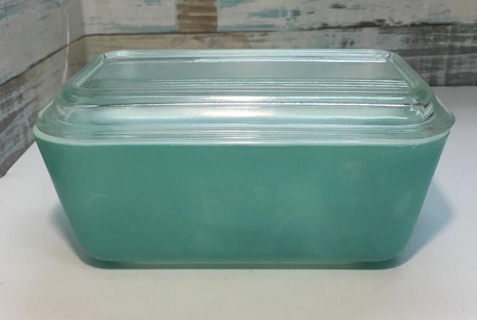 Pyrex Turquoise Refrigerator Dish #502 by JoyfulHeartReclaimed