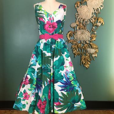 1980s sundress, vintage 80s dress, tropical print cotton, size medium, Lanz originals, full skirt dress, criss cross, 1950s style dress, 30 by BlackLabelVintageWA