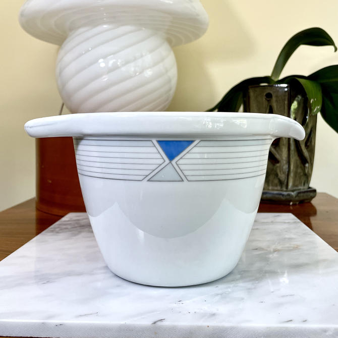 Vintage Studio Nova Ultra Ceram UP 034 Prima pattern - Bake & Serve Batter Bowl, Mixing Bowl, Retro, Grey Yellow Blue Geometric Graphics by VenerablePastiche