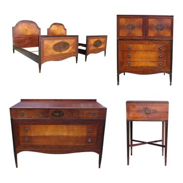 Royal Furniture French Style Antique Bedroom Set Pair Twin Beds Dresser Highboy Nightstand