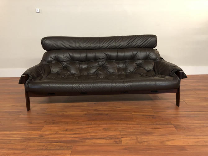 Percival Lafer Rosewood and Leather Couch by Vintagefurnitureetc