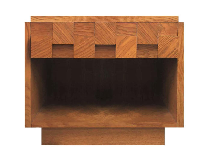 Mid Century Modern Lane Brutalist Oak Sculpted Walnut MCM Nightstand / End Table (PureVintageNYC) by PureVintageNYC