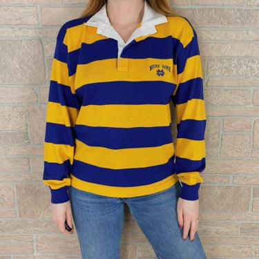 70's Notre Dame Striped Rugby Polo Shirt by NoteworthyGarments