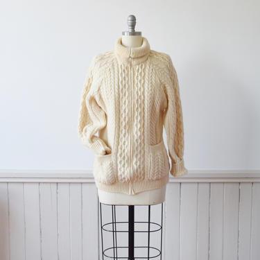 1980s Irish Fisherman's Zip Up Cardigan | Cable Knit Cardigan | Aran Sweater by wemcgee